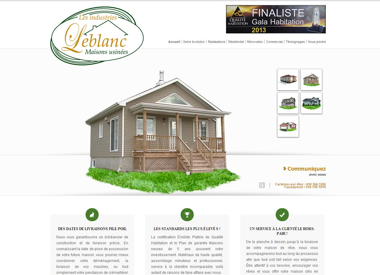 site Web des industries Leblanc, réalisation du Web simple
