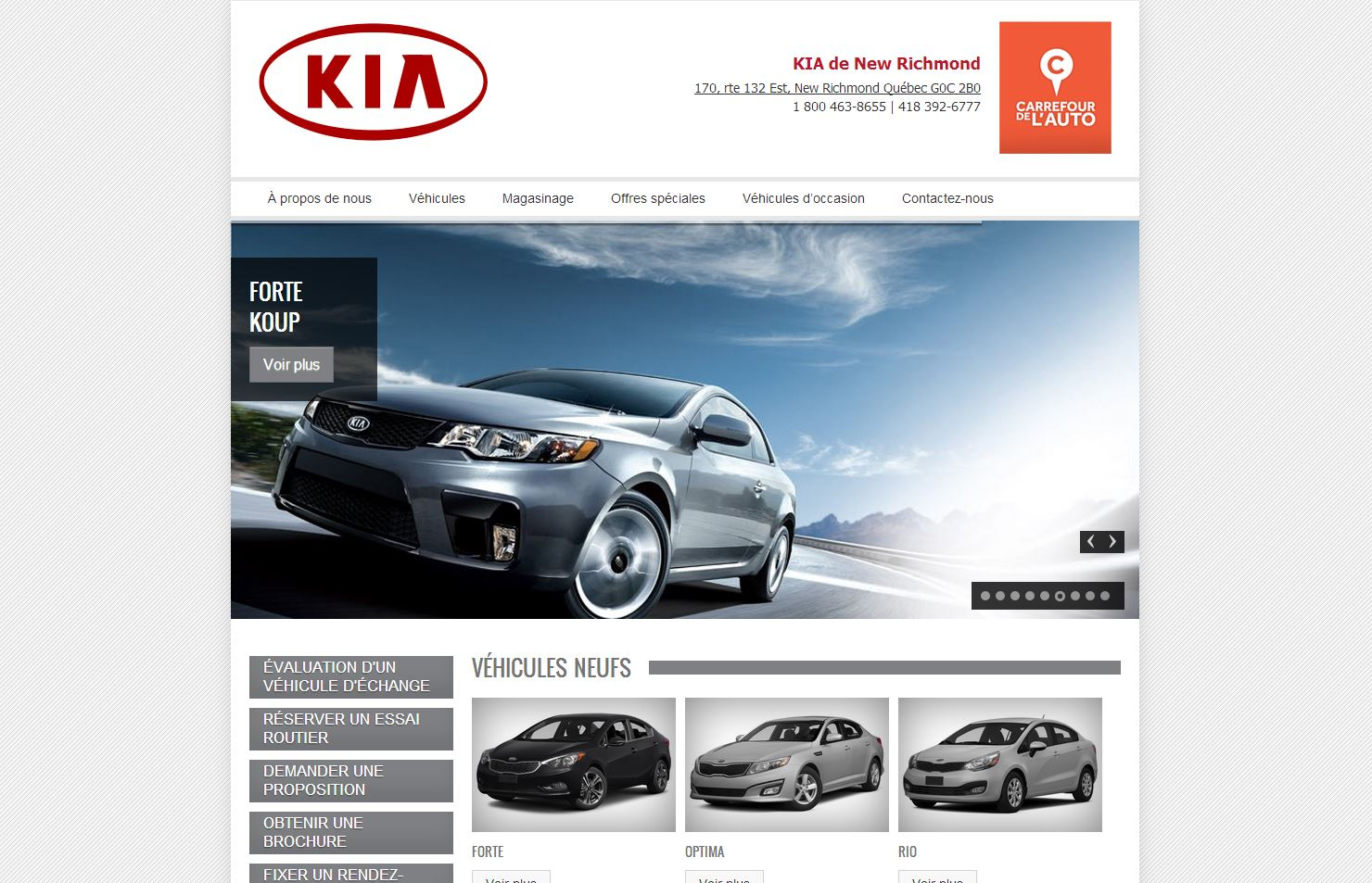 site Web de KIA New Richmond, réalisation du Web simple