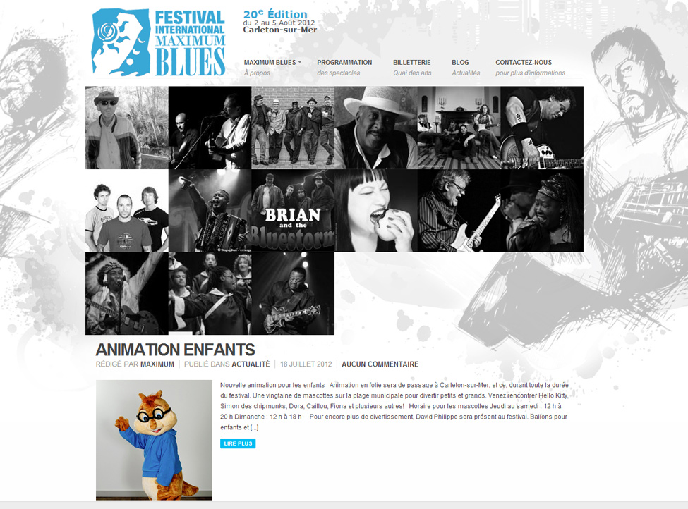 site Web du festival international maximum blues, réalisation du Web simple