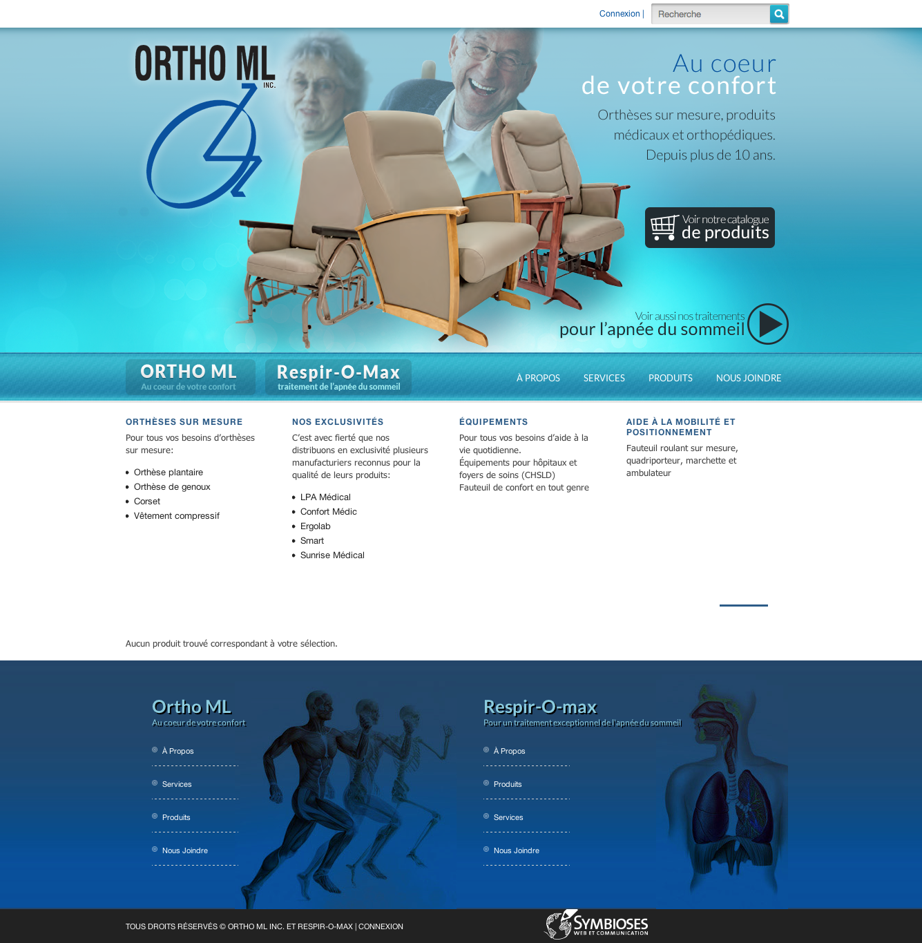 site Web de Ortho ML et Respir-o-max, réalisation du Web simple